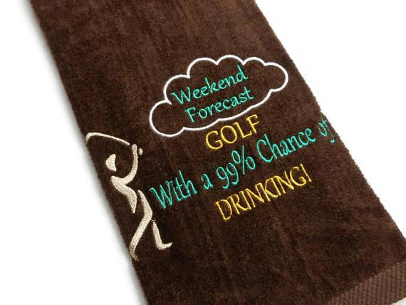Golf towel funny golf towel embroidered towel gift for him