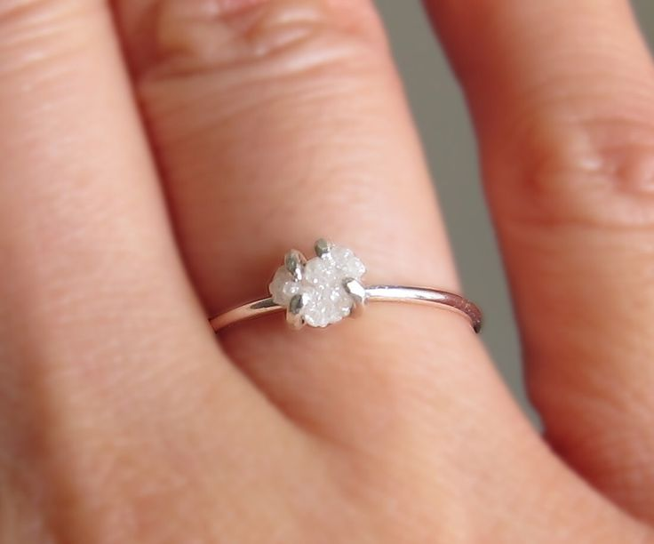White Raw Diamond Ring, Sterling Silver Uncut Diamond Ring, Rough Diamond Ring, Diamond Engagement Ring, Promise Ring, April Birthstone Ring by PurplePoemCraft on Etsy https://www.etsy.com/listing/226616664/white-raw-diamond-ring-sterling-silver