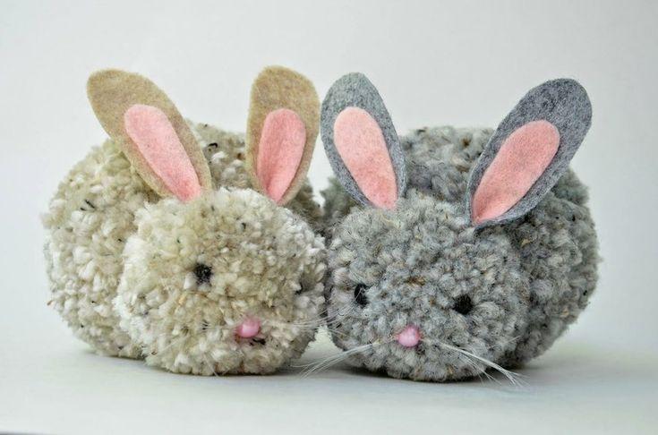 Manualidades fáciles conejitos de pompones de lana - Isa ❤️ | Manualidades