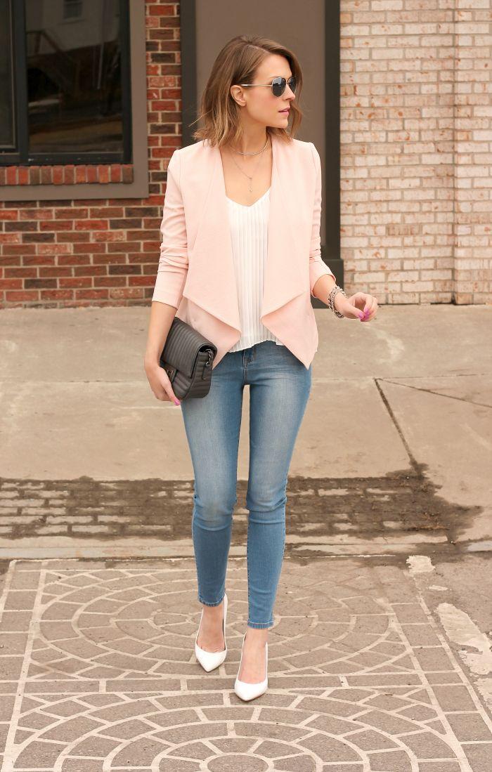 Women´s Fashion Style Inspiring Casual - Moda Feminina Inspiração / Forever 21 blazer, Forever 21 top, Forever 21 jeans,Forever 21 bag, Forever 21 necklace, Nails: Essie Splash of Grenadine, Lips: CoverGirl Temptress