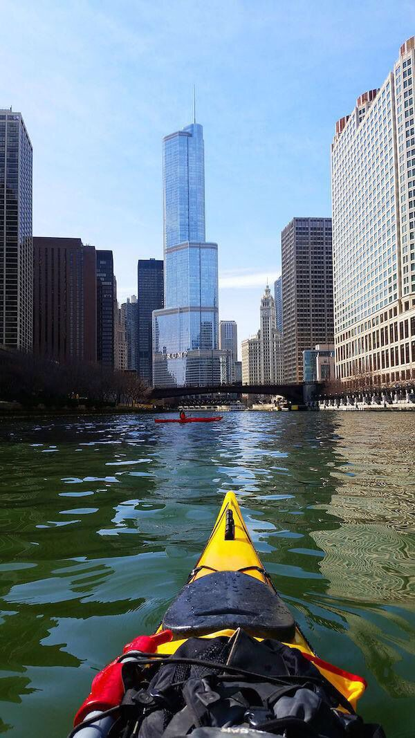Kayaking the river through the downtown canyon (Chicago Pin of the Day, 6/22/2015).
