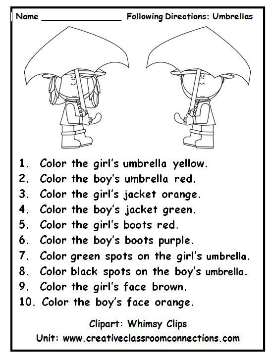 Following directions with color words is a fun practice activity. View other primary units and freebies at http://www.creativeclassroomconnections.com.