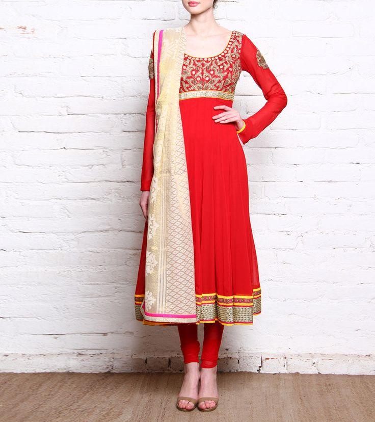 Red & Golden Georgette Anarkali Suit With Zardozi