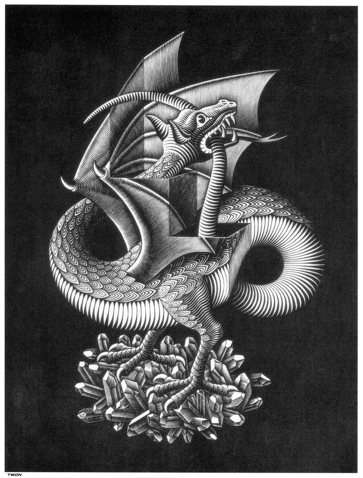 I love this because he is chasing his own tail!  Plane Filling Motif with Reptiles - M.C. Escher - WikiPaintings.org