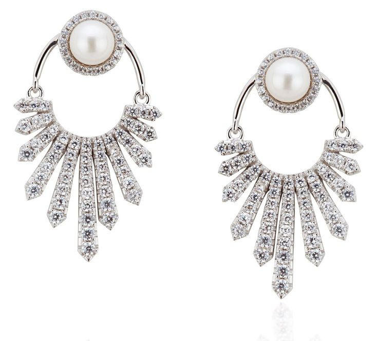 Helios Collection sterling silver white pearl ear jackets
