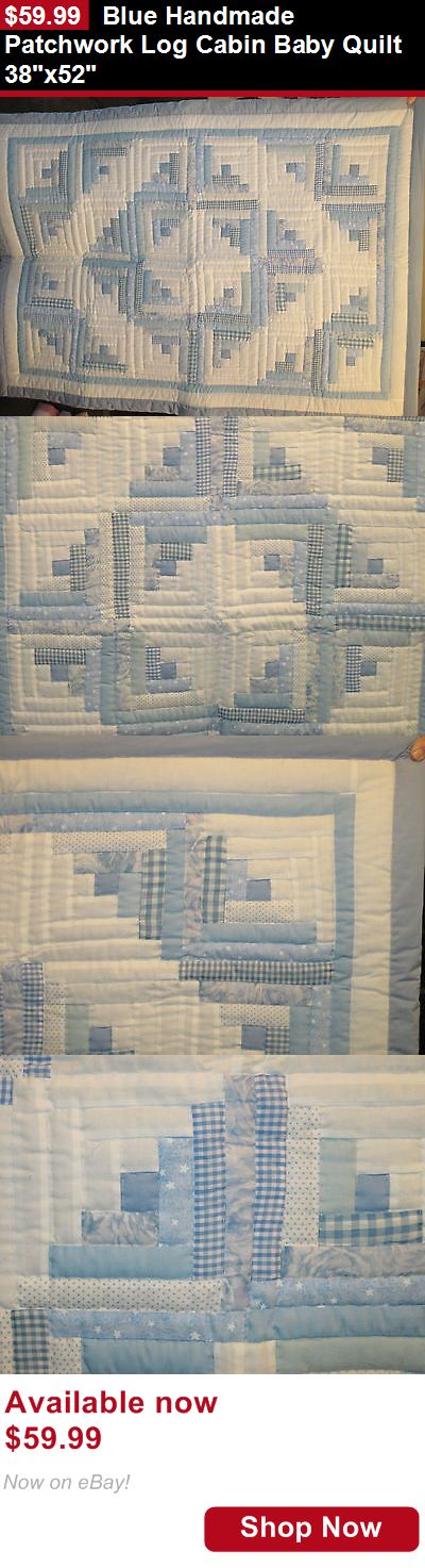 Quilts And Coverlets: Blue Handmade Patchwork Log Cabin Baby Quilt 38X52 BUY IT NOW ONLY: $59.99