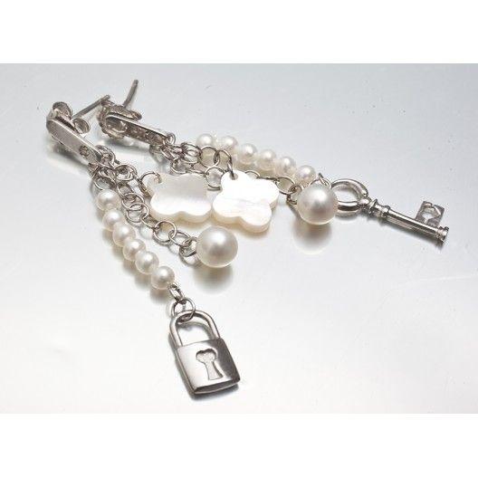 Battiquore Milano | Orecchini in argento 925 Perle coltivate di acqua dolce Madreperla naturale