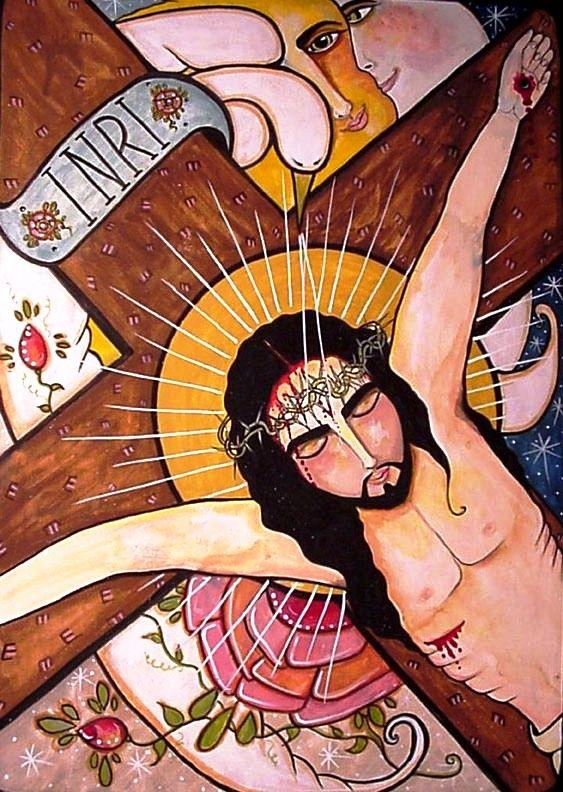 Crucifixion                   Retablo by Virginia Maria Romero