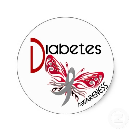 pictures of diabetes ribbon tattoos   Diabetes BUTTERFLY 3 Round Sticker from Zazzle.com