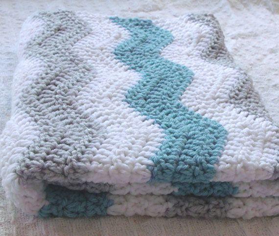 Aqua Blue and Gray Baby Boy Chevron Blanket - Crochet Blue Baby Blanket - Teal Gray Nursery - Aqua Gray Nursery Bedding / Chevron Bedding