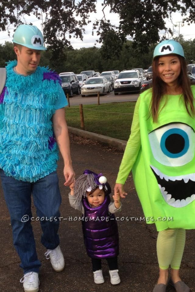 Cool DIY Monsters Inc. Family Costume: Sully, Mike and Boo... This website is the Pinterest of Homemade Halloween Costumes