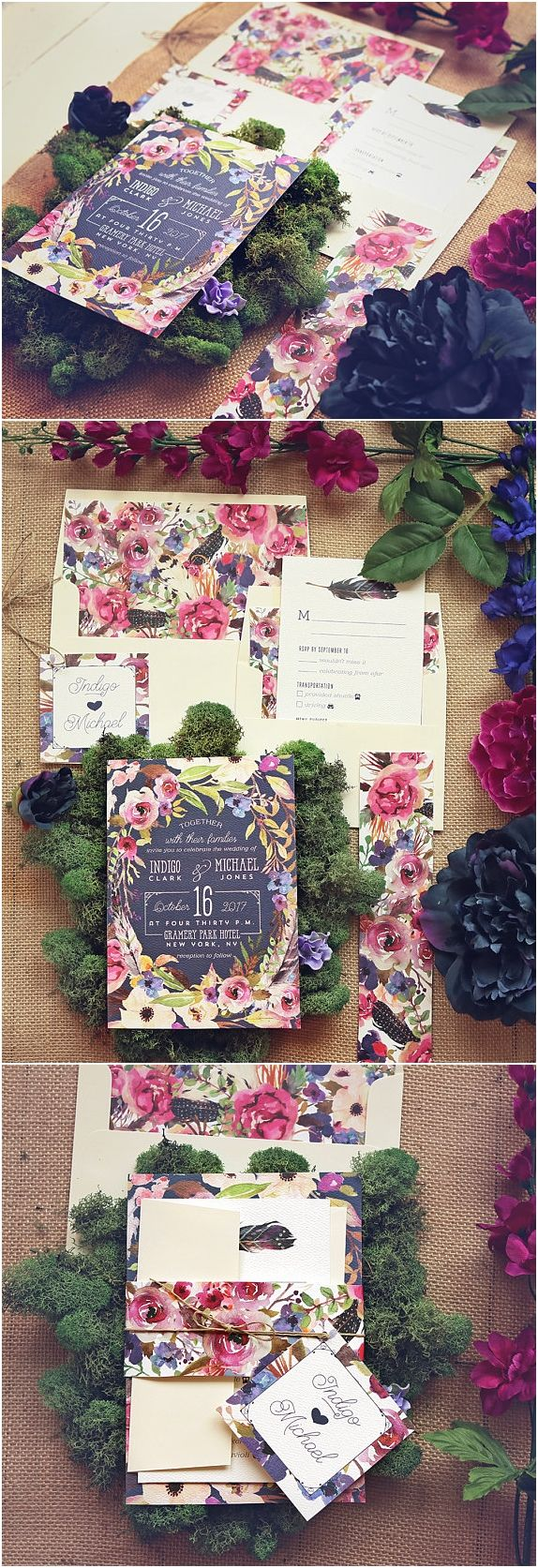Navy Wedding Invitation Set - Watercolor Floral Modern Wedding Invites - Boho Suite - Printable or Printed