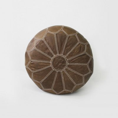 Redcurrent Moroccan Tan Leather Pouf $295.00.