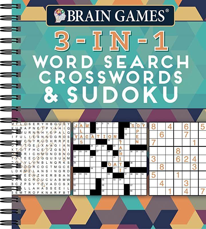 Get Book Brain Games 3 In 1 Word Search Crosswords Sudoku