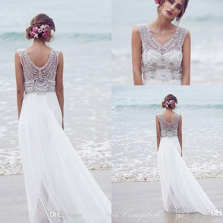 low cost wedding dresses in atlantga%0A      Sexy Cheap Anna Campbell A Line Wedding Dresses Summer Beach V Neck  Crystal Beaded Illusion