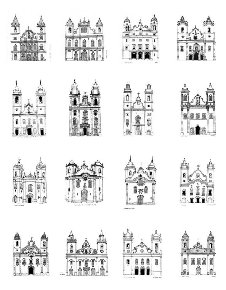 Igrejas no Brasil. Desenhos por Eduardo Verderame