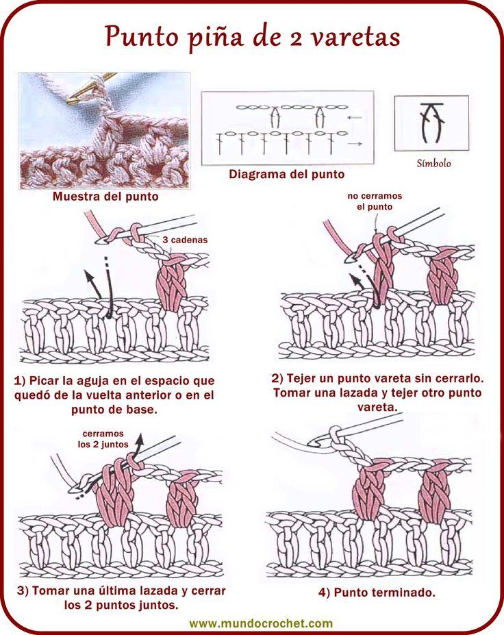 Punto piña de 2 varetas - 2 double crochet cluster ✿⊱╮Teresa Restegui http://www.pinterest.com/teretegui/✿⊱╮                                                                                                                                                                                 Más