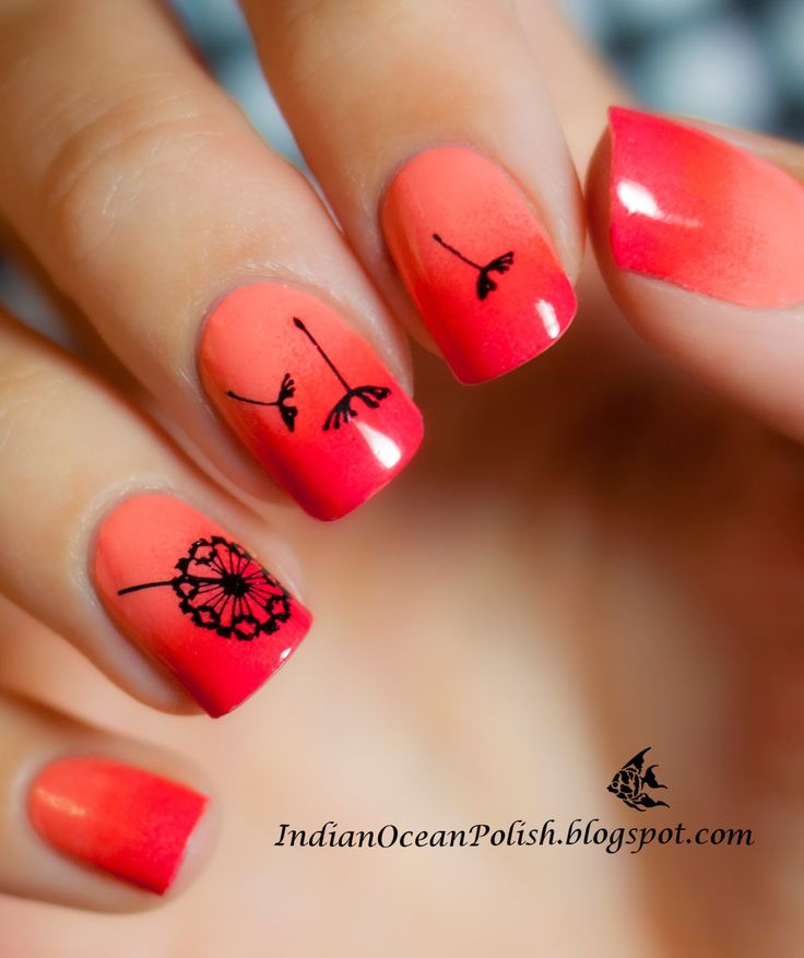 MoYou London Nail Stamping Dandelions with sunset Gradient using Kitty collection plate 02.