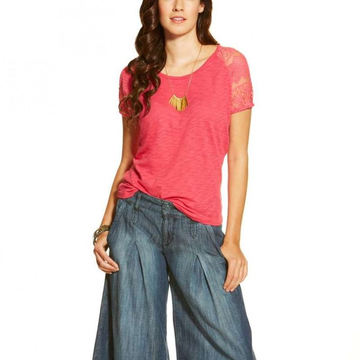 Ariat Ladies Debbie Fruit  A flirty casual top with a touch of lace. Also available in Navy. $54.95