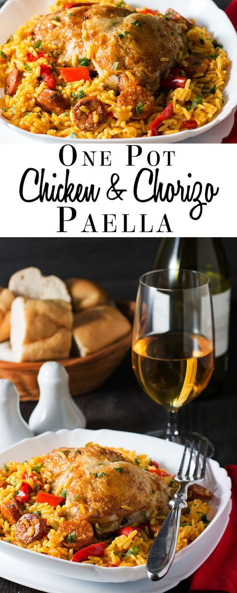 Chicken & Chorizo Paella - Erren's Kitchen - Instead of traditional seafood paella, try a this simple Chicken & Chorizo recipe. This hearty family dinner for four is a flavorful, one pot meal with chicken, Spanish sausage and saffron rice.