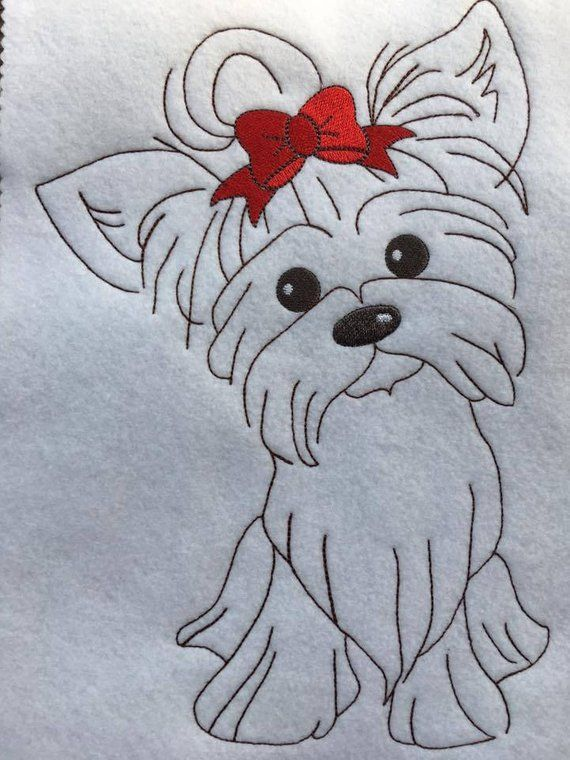 Madchen Yorkie Hund Skizze Redwork Stil 4 Grossen Enthalten
