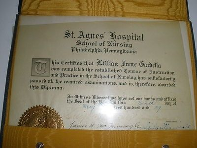 1929 SAINT AGNES HOSPITAL NURSING SCHOOL PHILA PA DIPLOMA VINELAND NJ (02/12/2012)