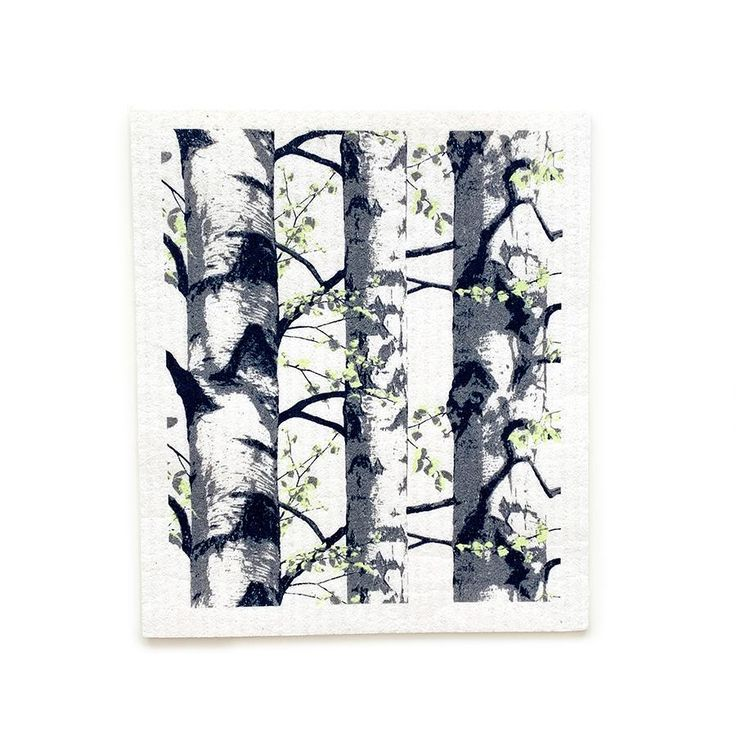 Birch Trees Swedish Dishcloth | Black | 8″ x 6.75″ | Vallila