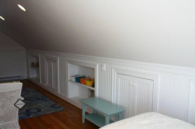 Cape+Cod+Attic+Bedroom+Ideas | Granby: finished bonus room above garage w/ beadboard, built in ...