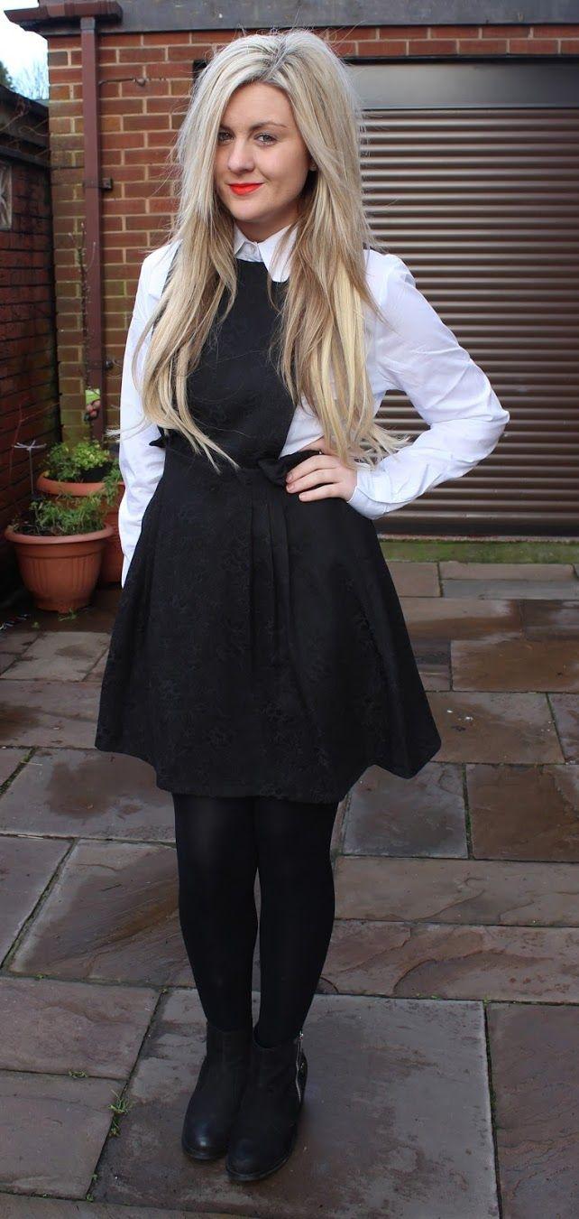 pinafore, black pinafore, dahlia, collar shirt, scallop shirt, fashion blog, through chelsea's eyes,