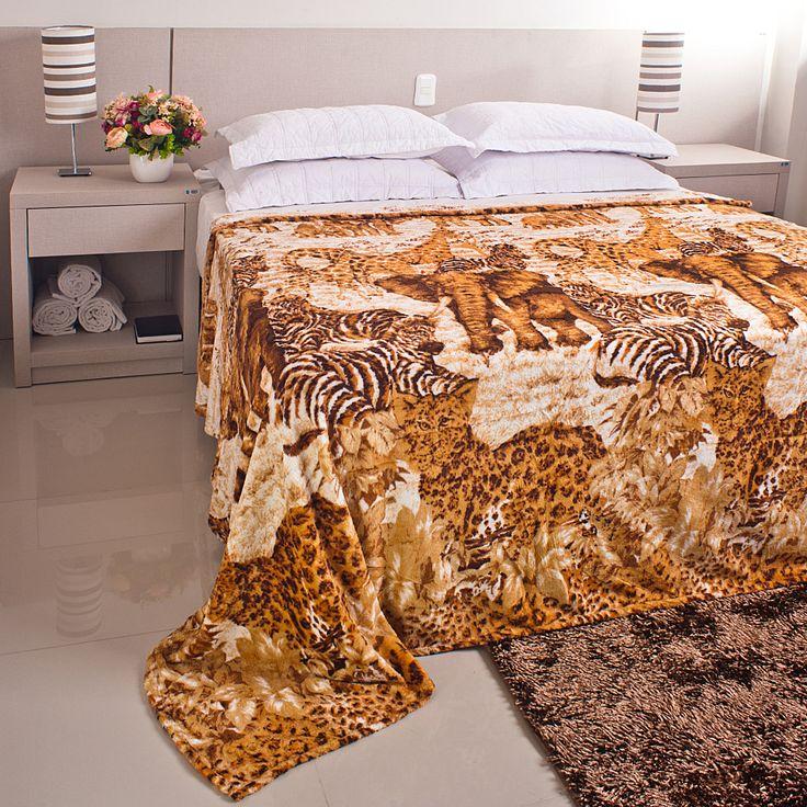 Cobertor / Manta Microfibra Maya Animal Print Savana - Casa Baher