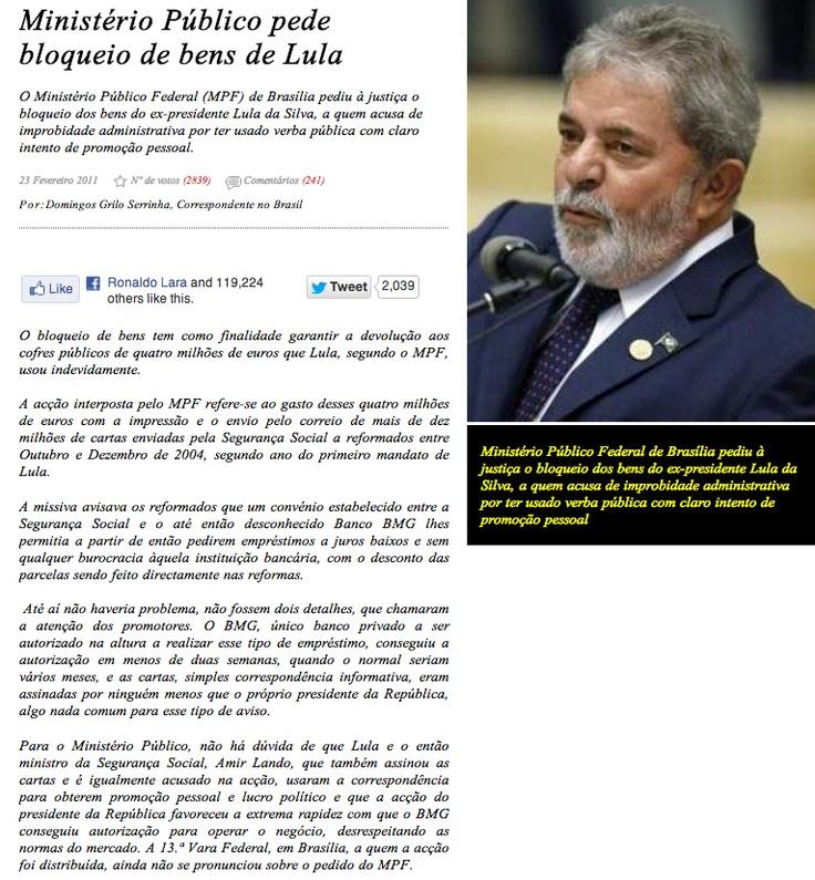 Ministério Público pede bloqueio de bens de Lula ➤ http://www.cmjornal.xl.pt/detalhe/noticias/internacional/mundo/ministerio-publico-pede-bloqueio-de-bens-de-lula - CORREIO da manhã - 2012 12 22 #ILoveLula