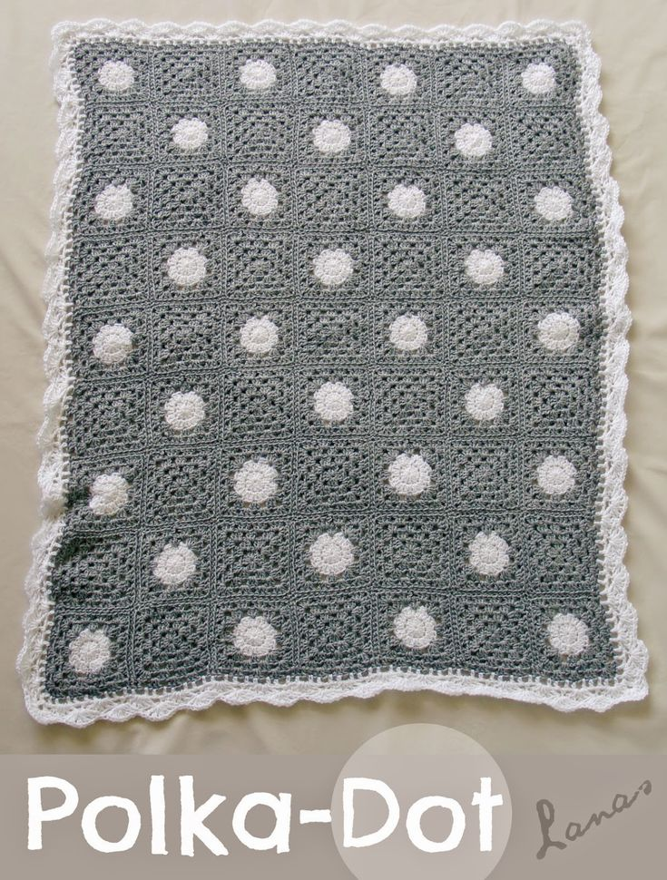 Lanas de Ana: Polka-Dot Blanket Effen grannys en circles in a square, aan elkaar genaaid met whip stitch-methode back loops only.