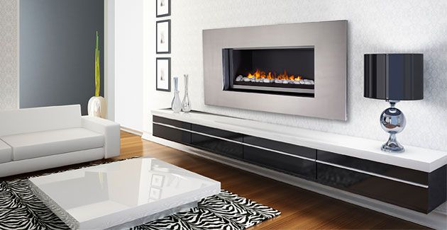 Modern Fireplace Contemporary Electric Open Front Gas