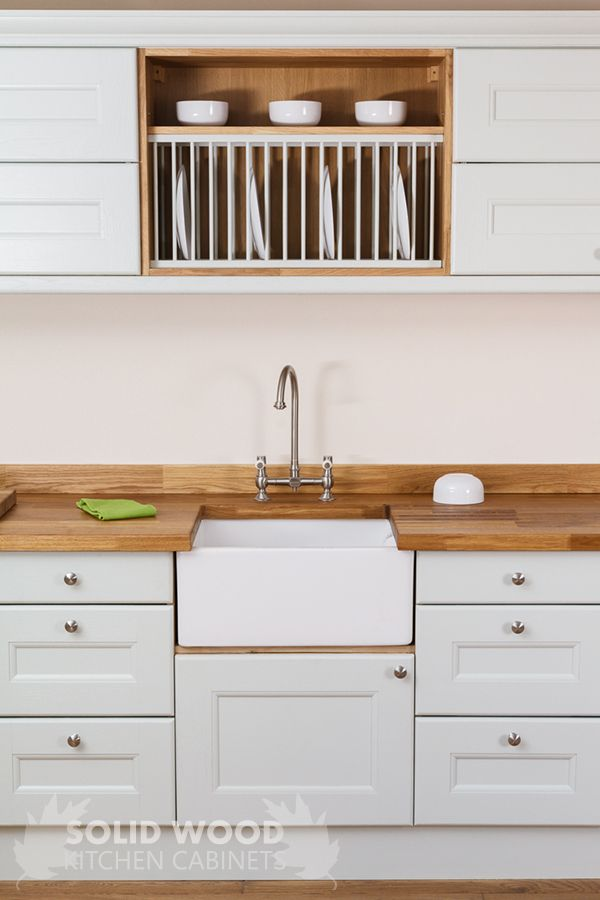 To create a farmhouse kitchen, the devil is in the details.  Consider our oak plate racks, traditional cabinet frontals and worktops constructed from a conventional timber, such as oak, walnut or cherry with matching upstands.