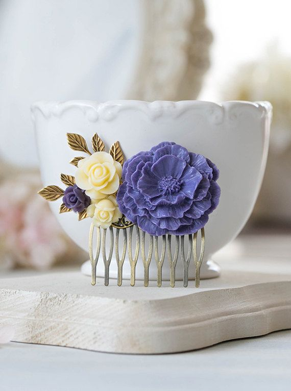 Purple Bridal Hair Comb Ivory Rose Purple Poppy Flower by LeChaim