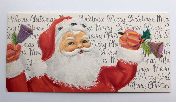 Vintage Mid Century Christmas Card Santa Claus Purple Bell Holly Stripe Mitten