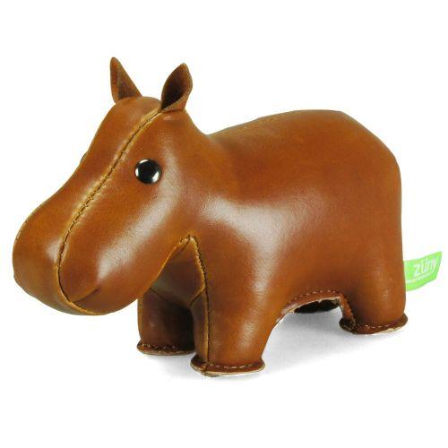 Presse-papiers HIPPO le hippopotame. Les animaux délirants de Zuny sont fabriqués à la main en similicuir de qualité et ils sont déjà bien connus comme des objets design.