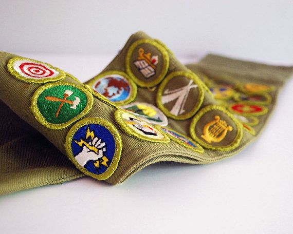 1960s  1970 Boy Scout Sash 27 Merit Badges by CalloohCallay