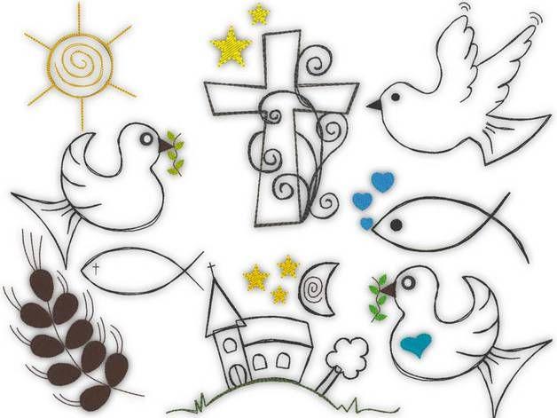 9 X Stickdatei 10x10 Kirche Taufe Doodle 10x10