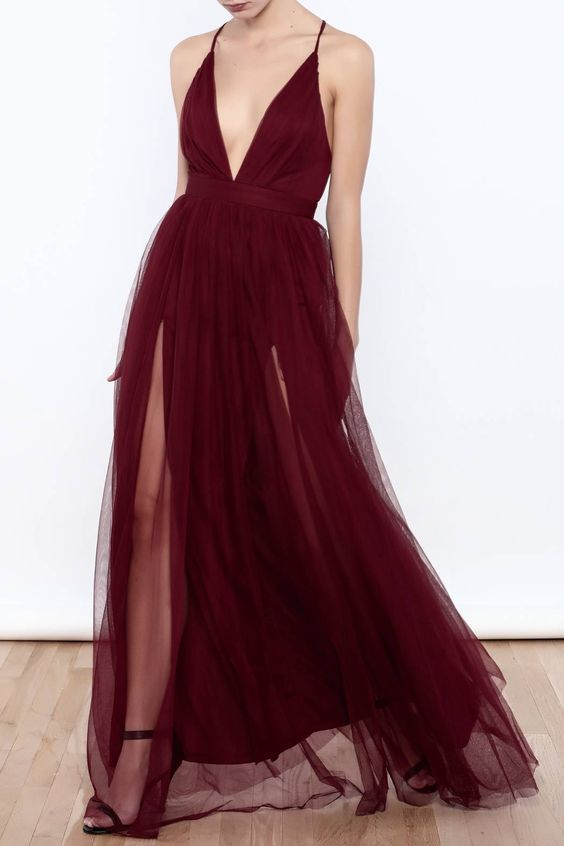 Sexy Deep V Neck Tulle Maxi Dress,Fashion Prom