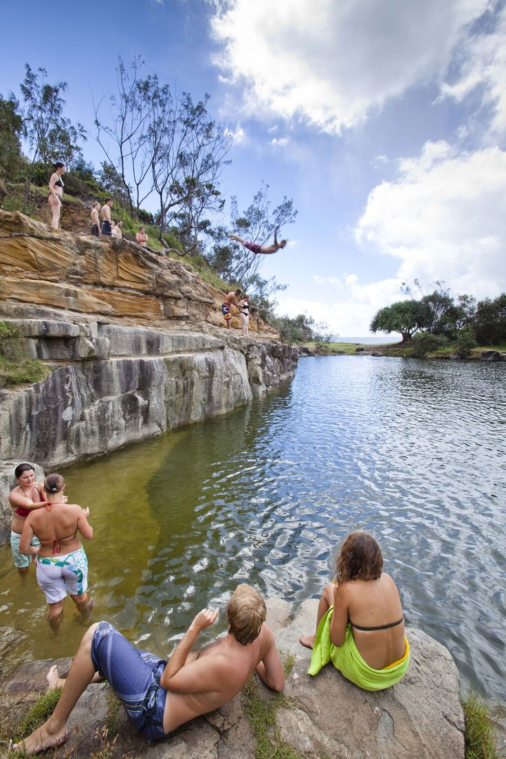 Cliff jumping in Yamba, Australia. The surf here is so good, the owner of Billabong owns a house here.