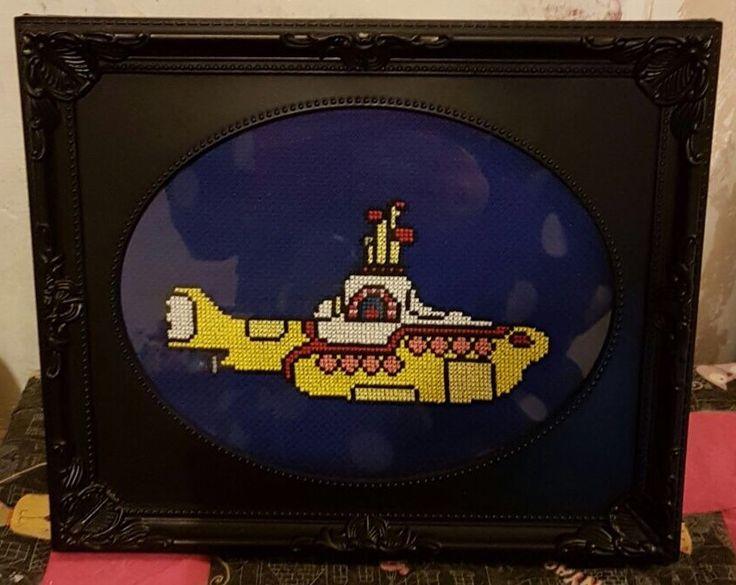 Beatles yellow submarine cross stitch