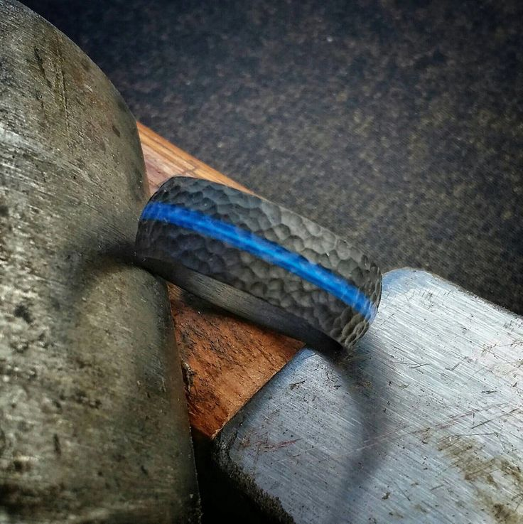"""Thin Blue Line"" Hammered Finish , Carbon Fiber Ring. Domed top."