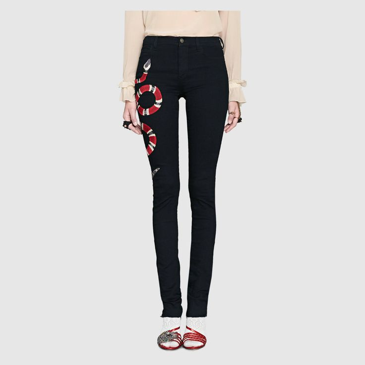 Embroidered stretch-cotton skinny jeans Gucci Qckcx