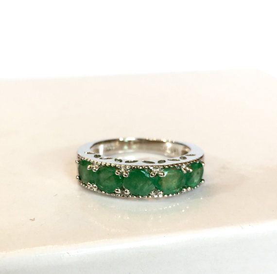 vintage emerald ring sterling silver green gemstone band
