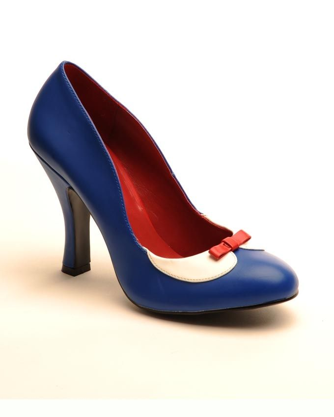 """The """"Smitten"""" is a great retro basic with round toe and a perfect curved 4"""" heel. This one is in matte blue with an almost unbearably cute Peter Pan Collar and teeny bow at the toe."""