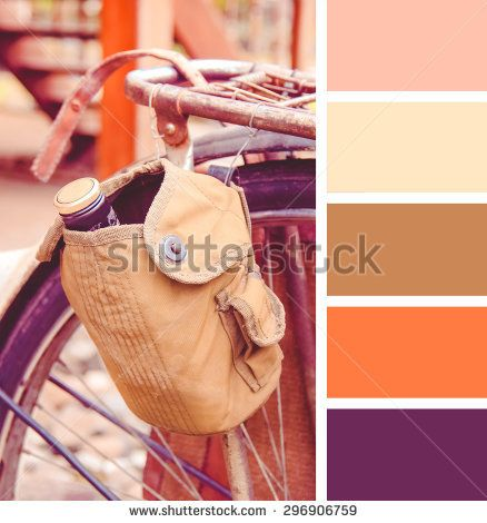 old-fashioned bicycle.  colour palette swatches. Retro vintage effect