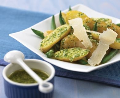 Green Bean & Potato Salad with Mint & Basil Pesto with Tre Stelle® Grana Padano Cheese #recipe #salad #entree #appetizer