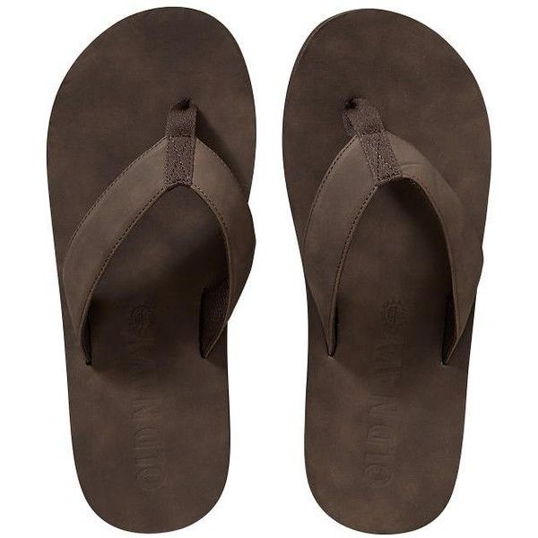 Old Navy Mens Faux Leather Flip Flops ($15) ❤ liked on Polyvore featuring men's fashion, men's shoes, men's sandals, men's flip flops, brown, old navy mens flip flops, vegan mens shoes, mens brown shoes, mens brown flip flops and mens sandals