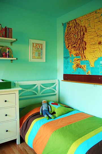 Map themed room for Wyatt (how funny it says Levi on the wall!)